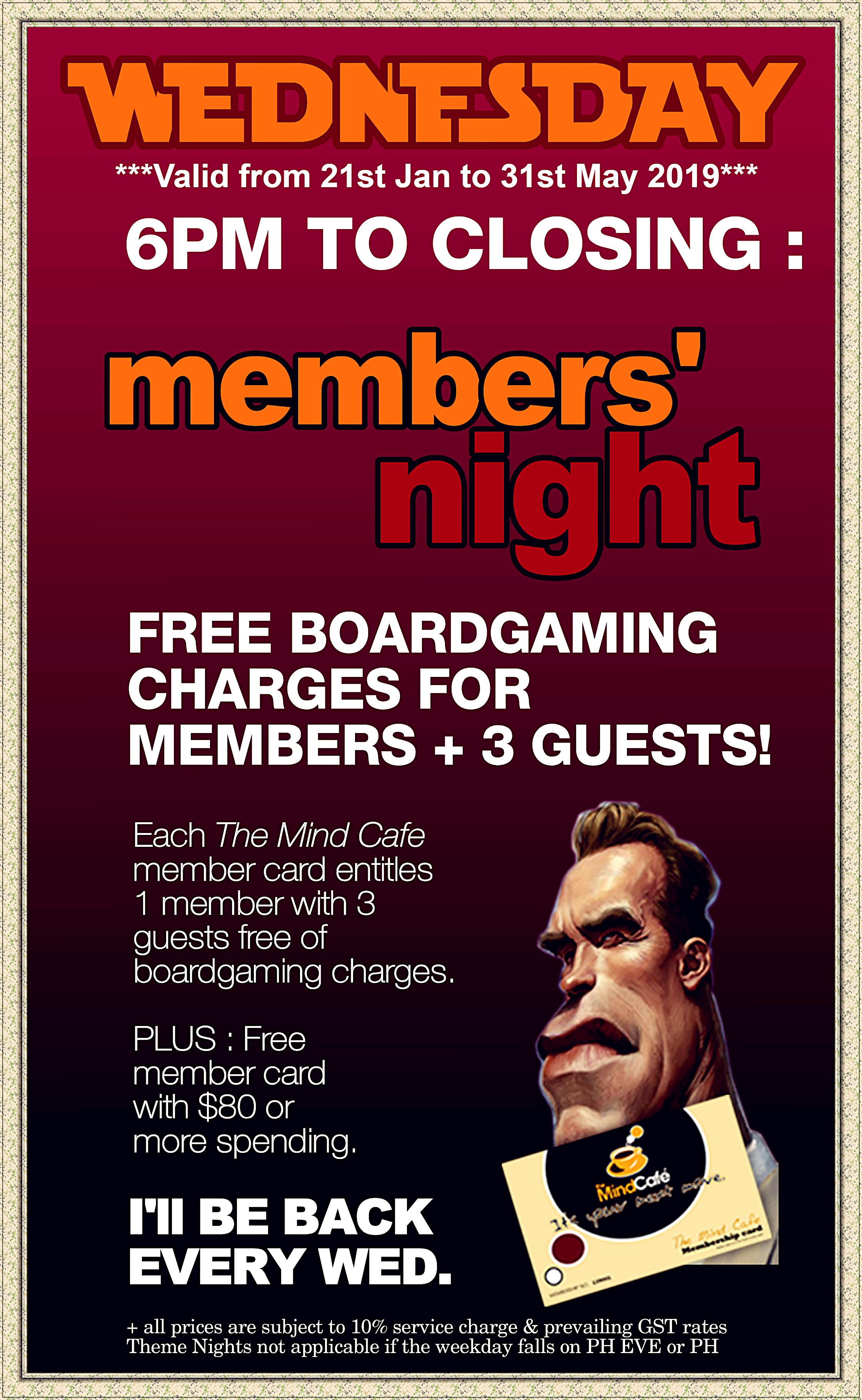 Our Rates : The Mind Cafe (Board Games Cafe since year 2005)